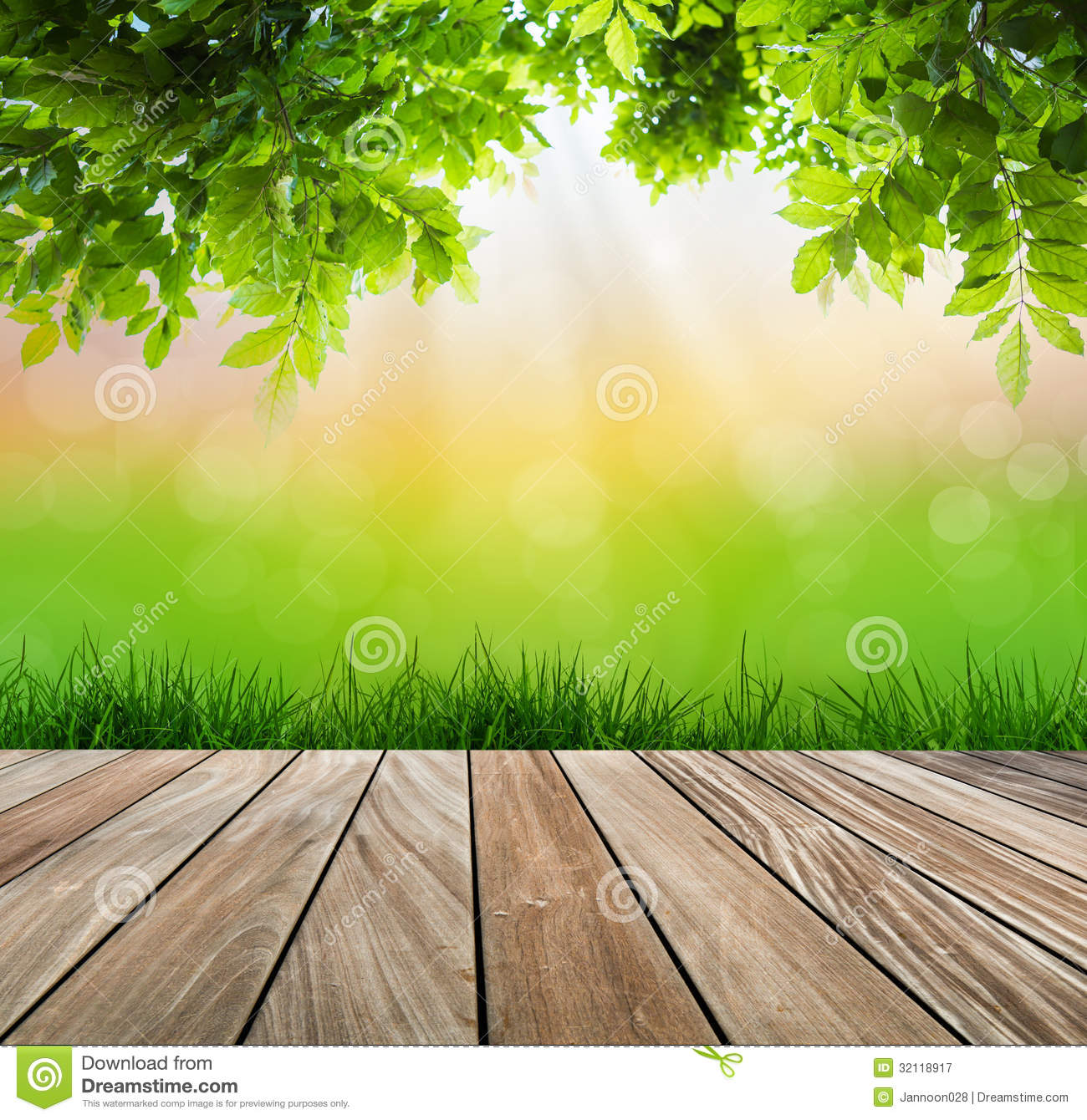 Green Floor grass with green blurred background and wood floor stock photo