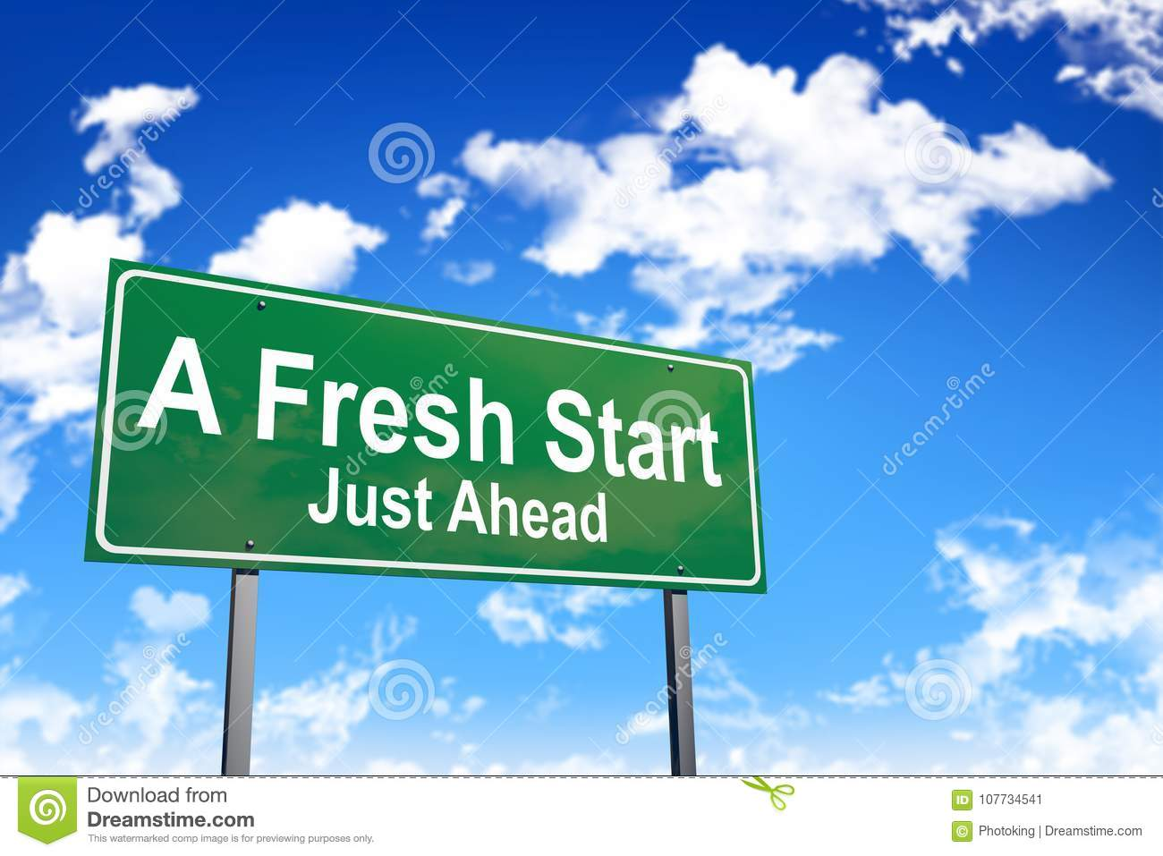 Download A fresh start road sign stock image. Image of signpost - 107734541