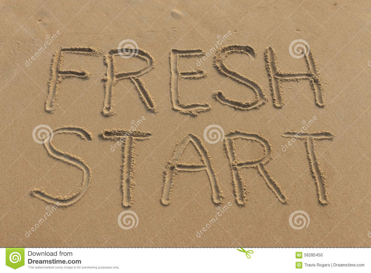 Download Fresh Start Written In The Sand Stock Photo - Image of challenges, concept: 56285450