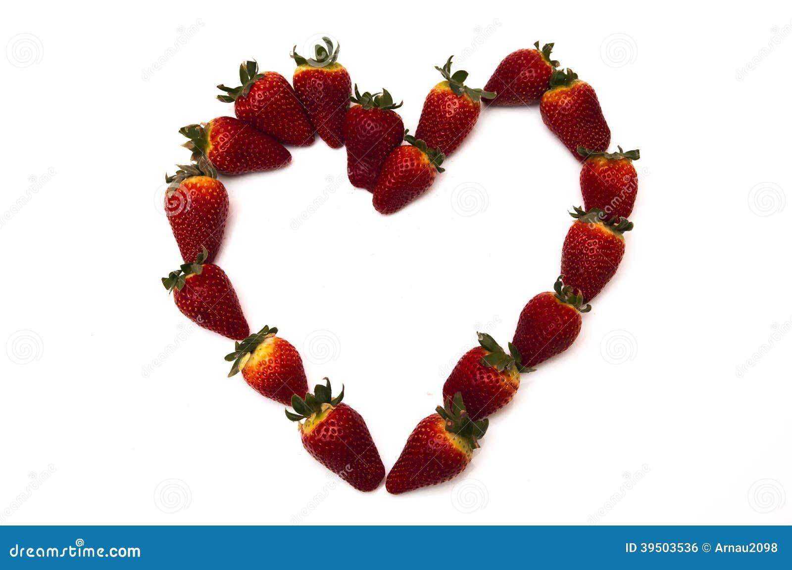 Fresh strawberries in heart shape