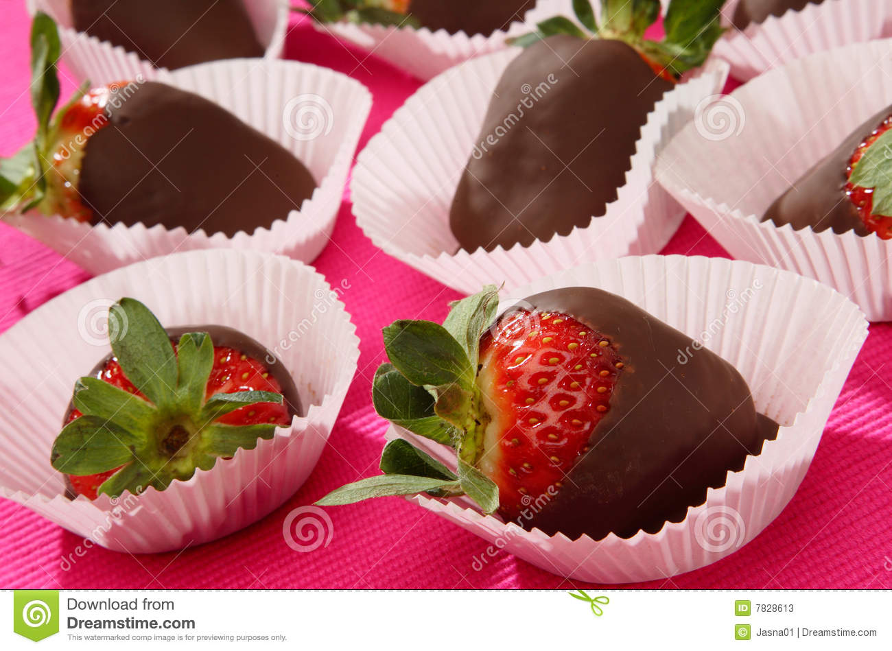 Fresh strawberries in melted chocolate