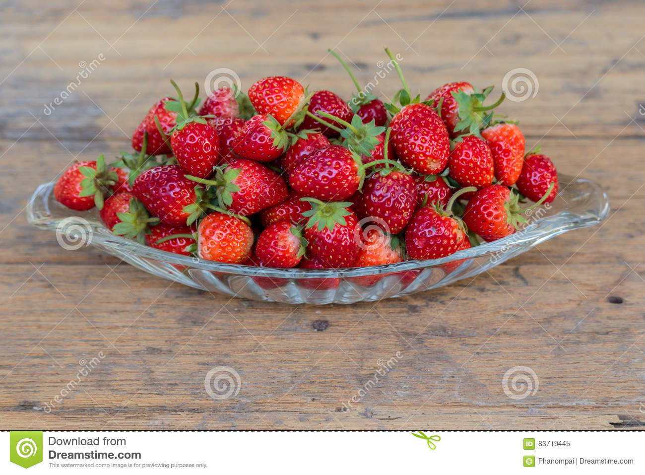 Fresh Strawberry Fruit In A Glass Dish. Stock Photo