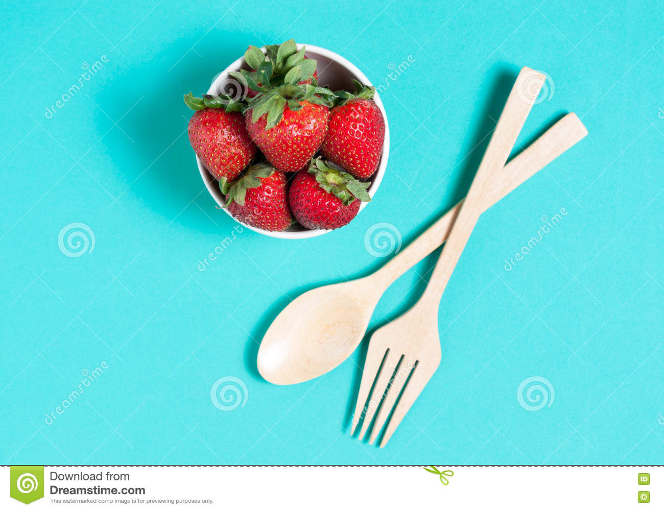 Fresh Strawberry And Juice On Blue Background. Flat Lay Stock Photo ...