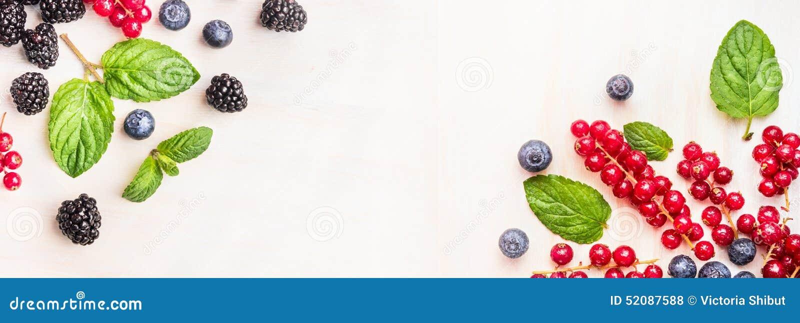 Fresh Summer Berries, Corner Frames On White Wooden Background, Top ...