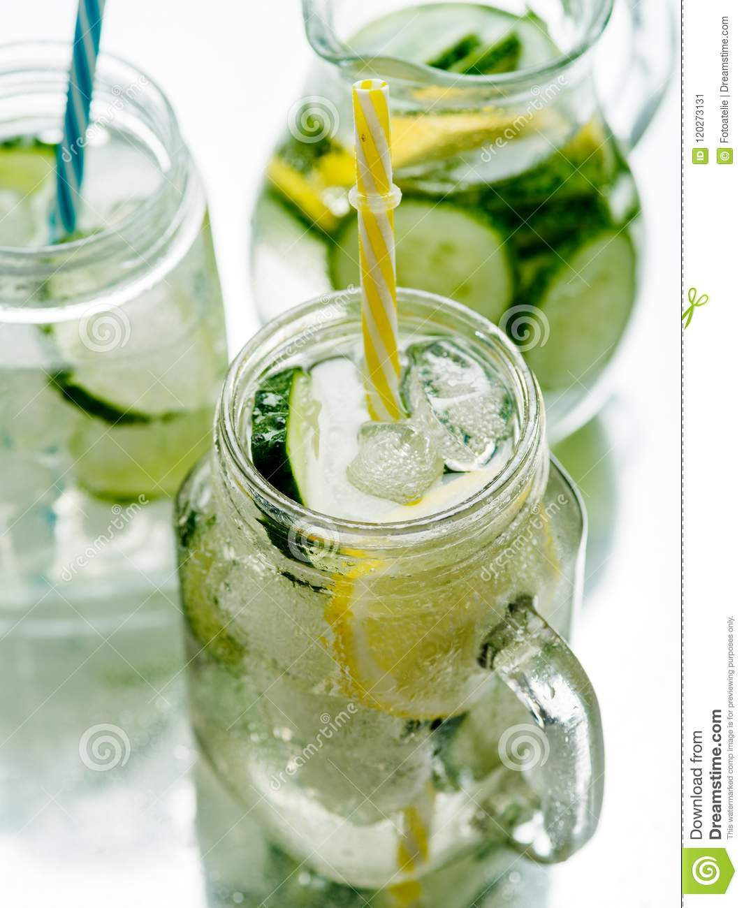 Fresh Summer Drink. Healthy detox fizzy water with lemon and cucumber in mason jar. Healthy food concept.