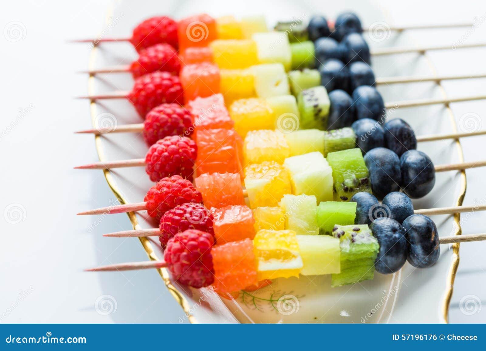 Fresh Summer Fruits On Sticks Stock Photo Image Of Grape