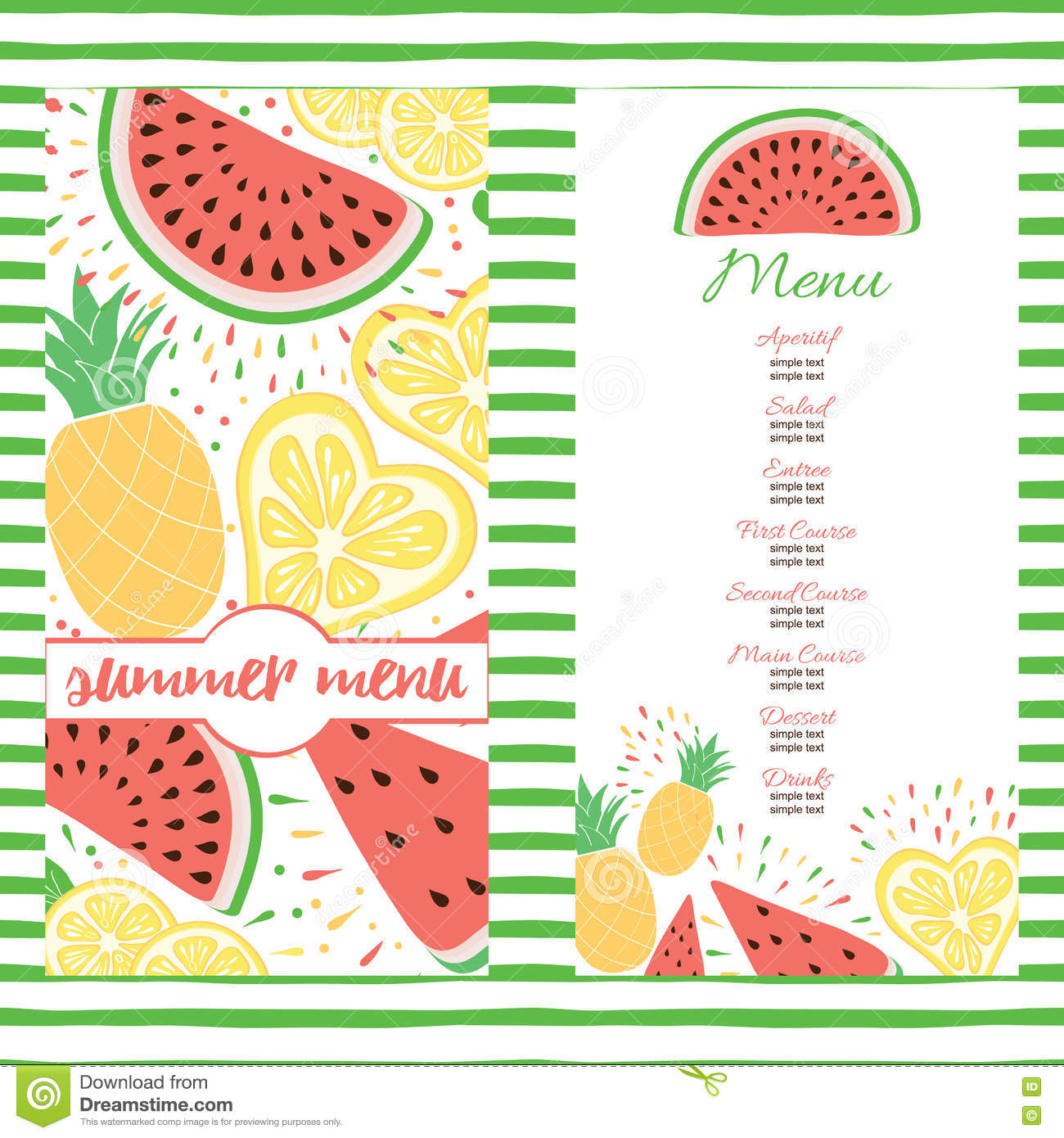 fresh summer menu template with color tropical fruits. stock vector