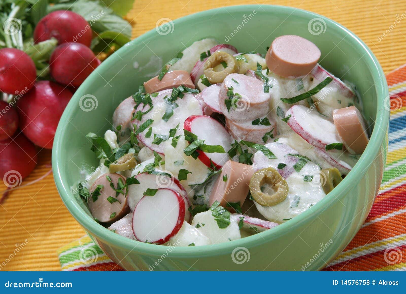 Royalty Free Stock Photos: Fresh summer salad with frankfurter sausage