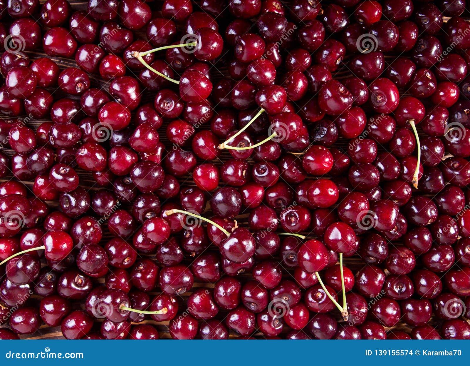 Fresh sweet cherry. Food background