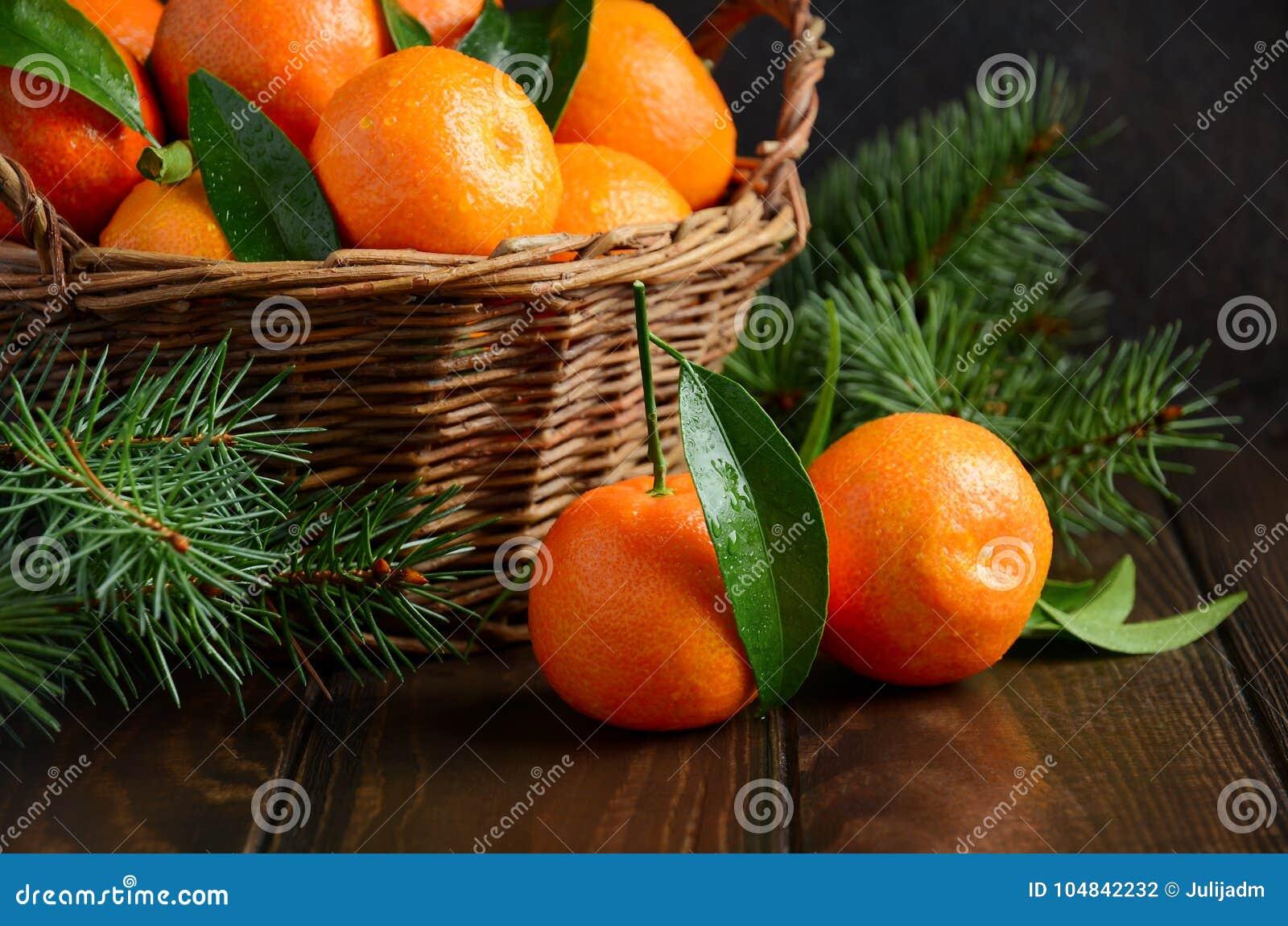 Clementine For Christmas.Fresh Tangerine Clementines On Dark Wooden Background