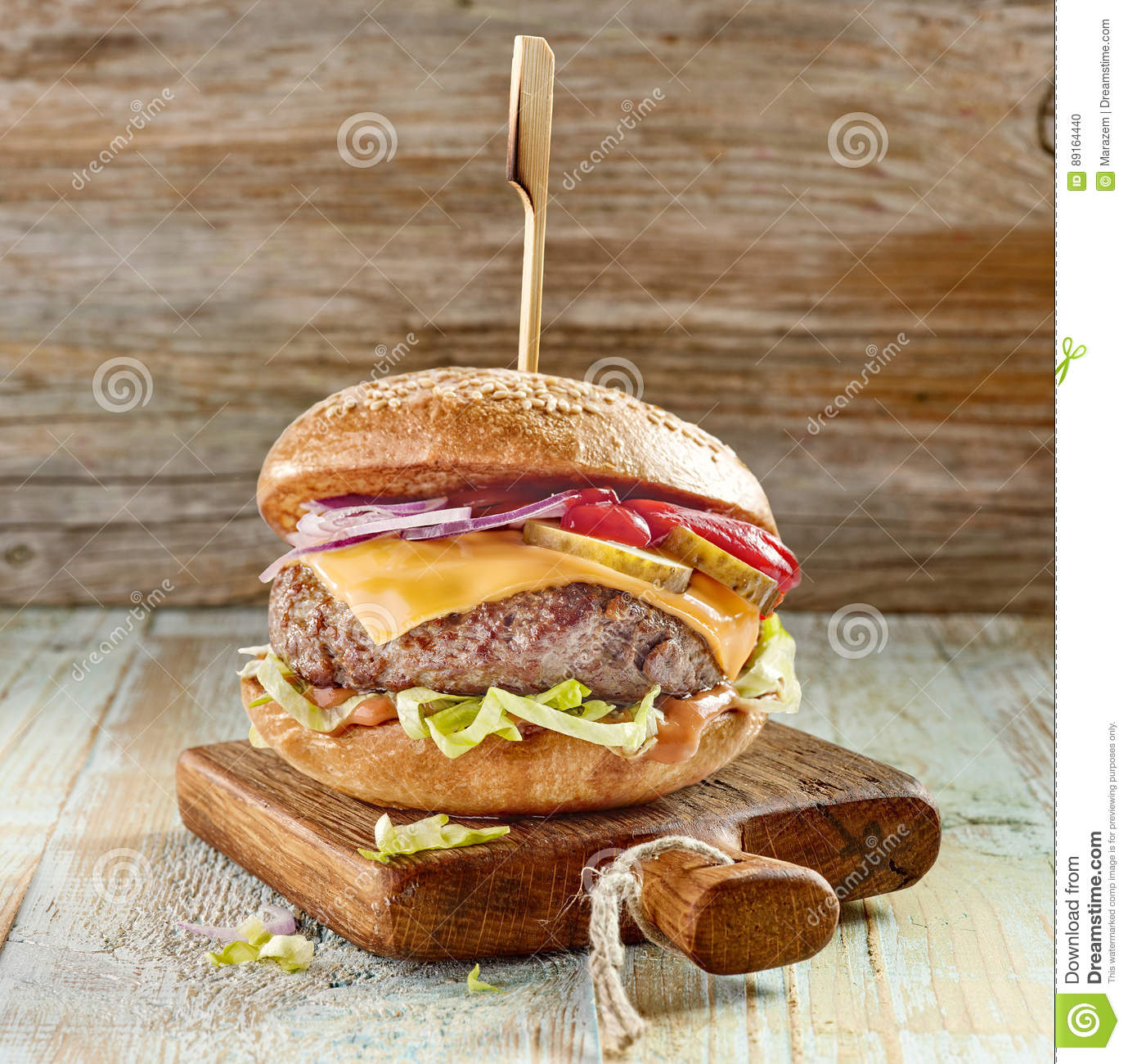 Fresh tasty burger royalty free stock photography for Table burger
