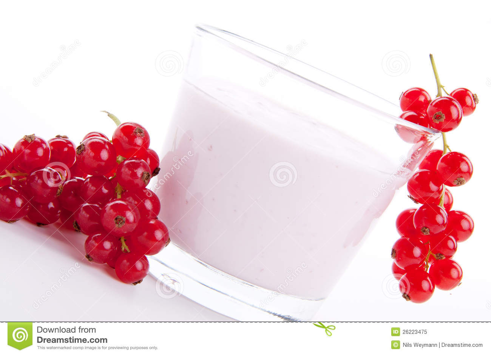 Fresh tasty currant yoghurt shake dessert