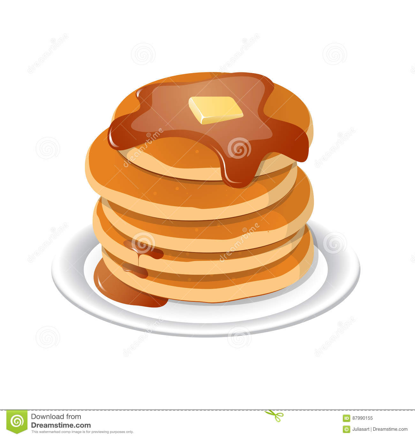 Fresh Tasty Hot Pancakes With Sweet Maple Syrup Cartoon