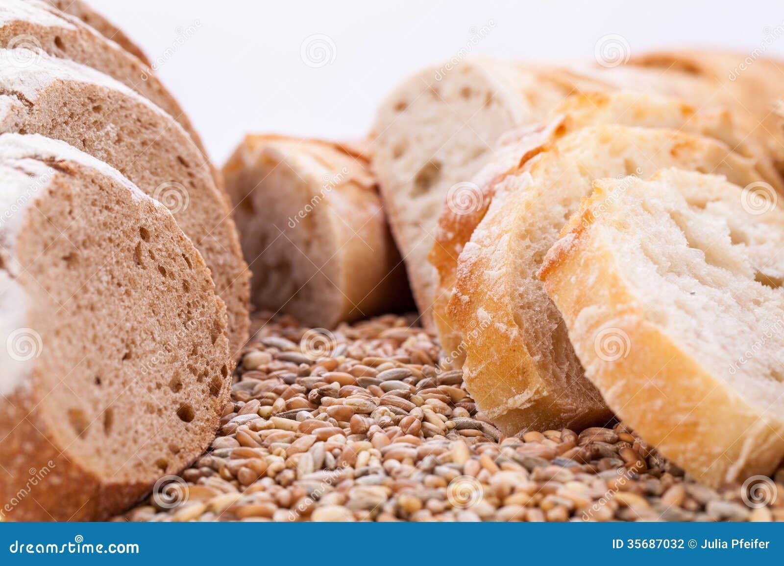 Fresh tasty mixed bread slice bakery loaf