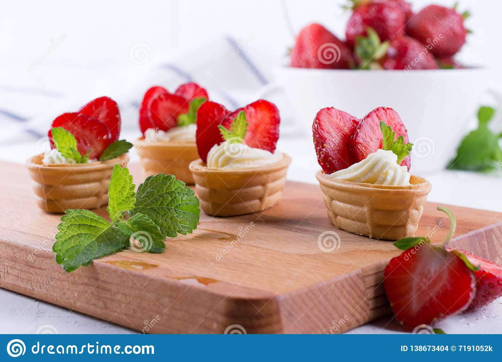 Fresh and tasty snack with cream cheese fruits and berries.