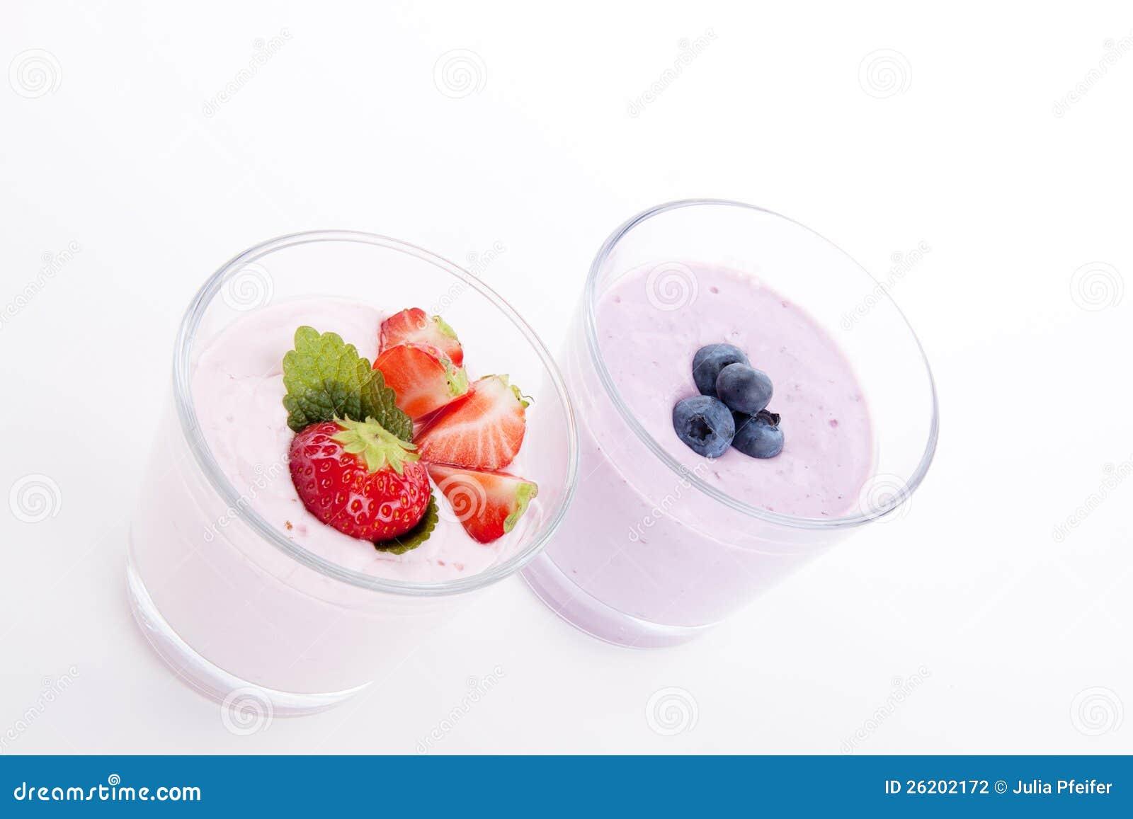 Fresh tasty strawberry blueberry yoghurt shake cream