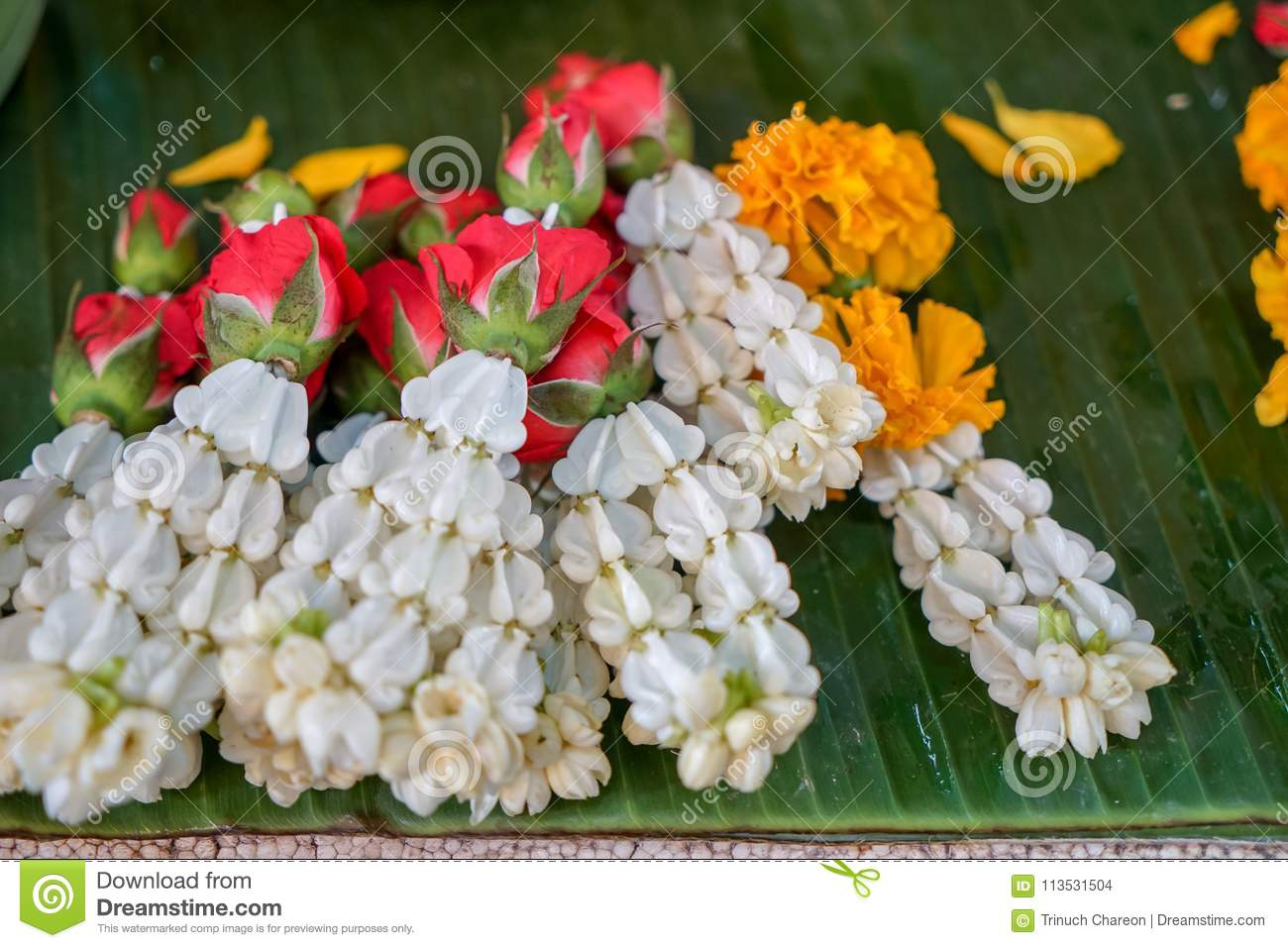Fresh Thai Style Flower Garlands Made Of White Jasmine Crown Flower