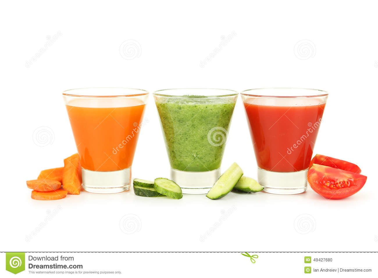 Fresh tomato, carrot and cucumber juice isolated on a white