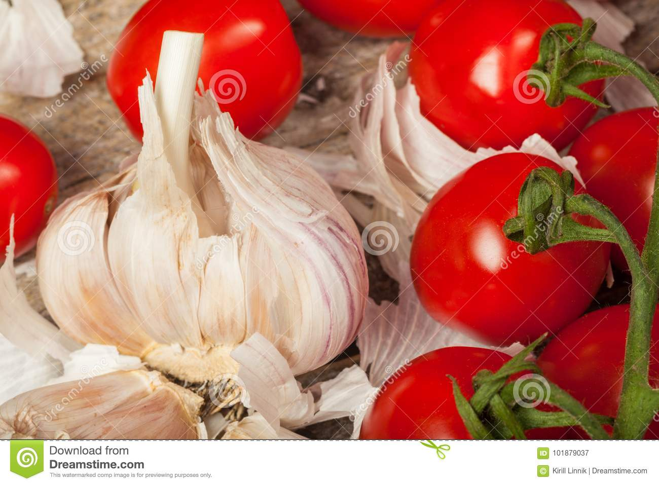 Download Tomatoes and garlic stock image. Image of mediterranean - 101879037