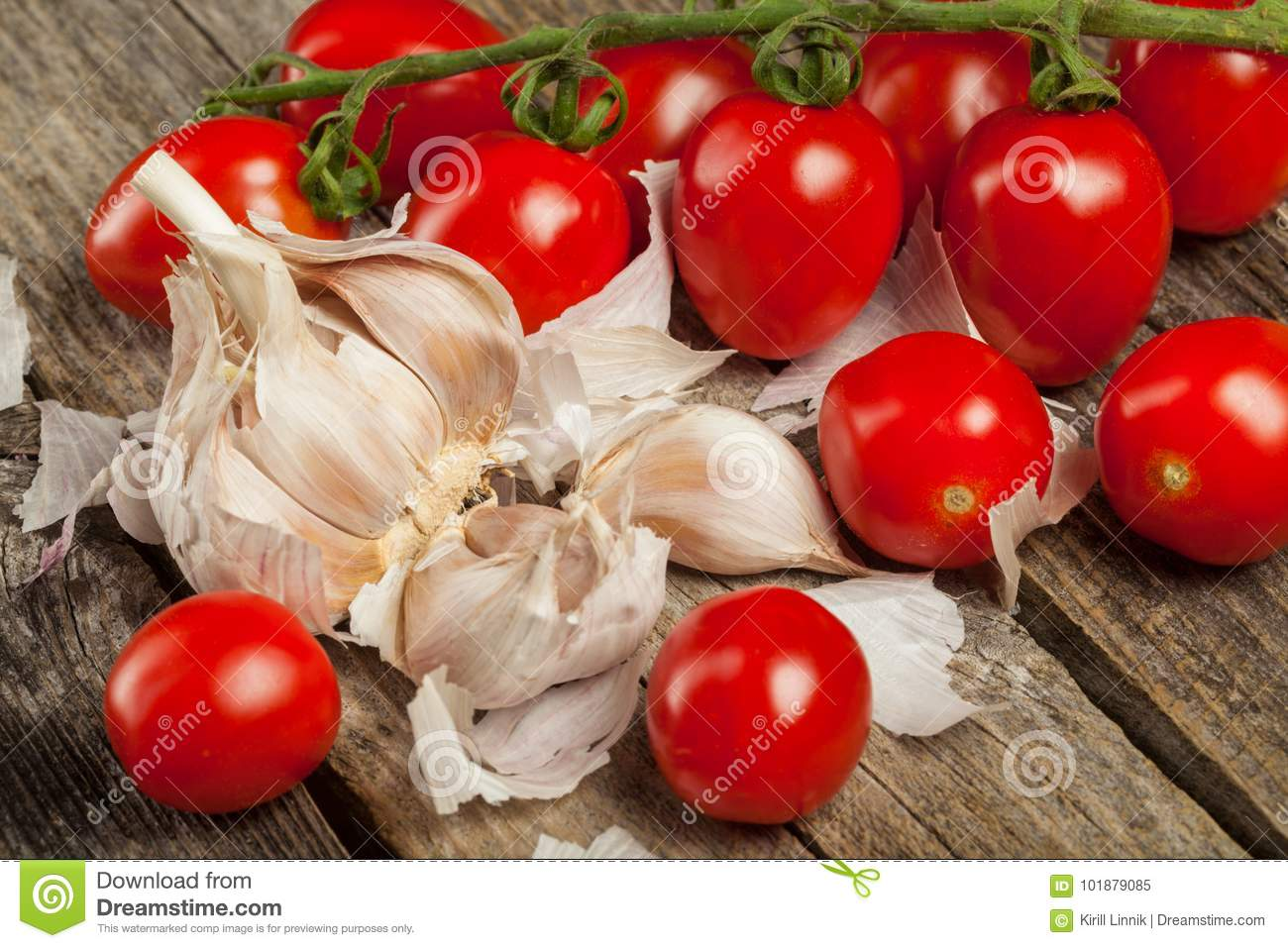 Download Tomatoes and garlic stock image. Image of meal, clove - 101879085