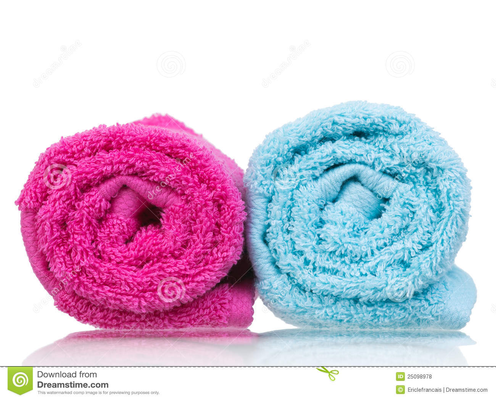 Fresh towel pair rolled-up closeup