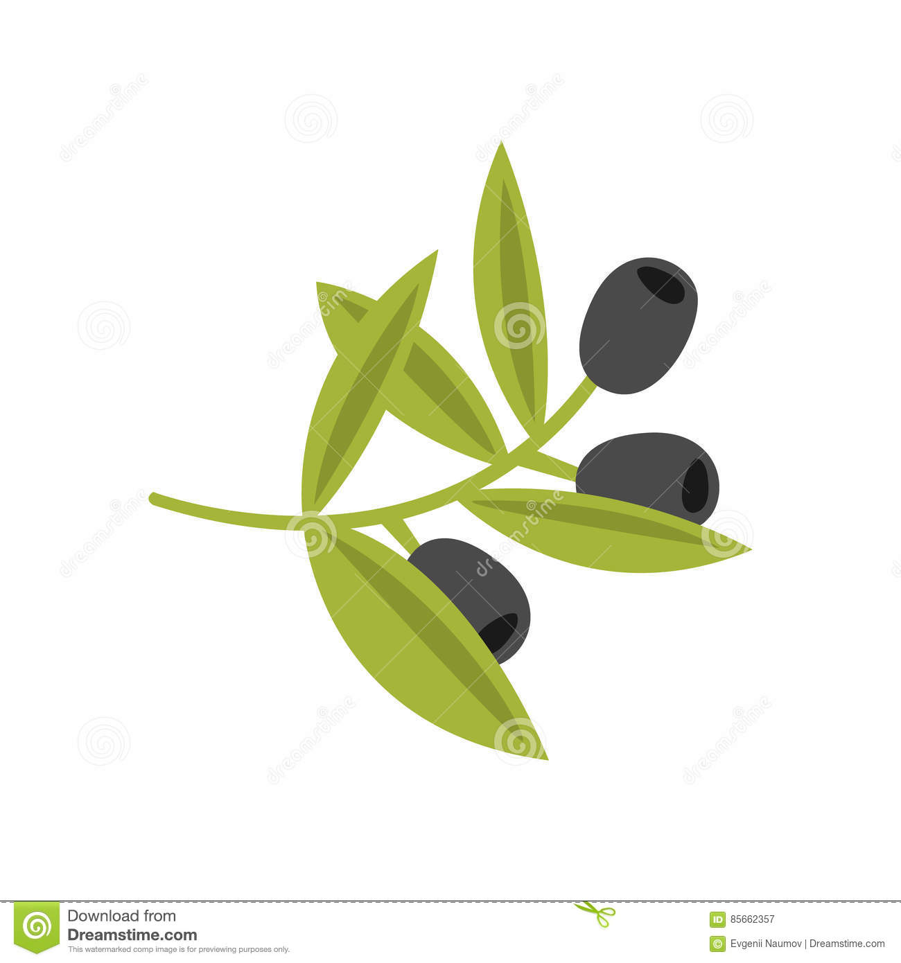 Fresh Tree Branch With Olives Primitive Cartoon Icon, Part Of Pizza Cafe Series Of Clipart Illustrations