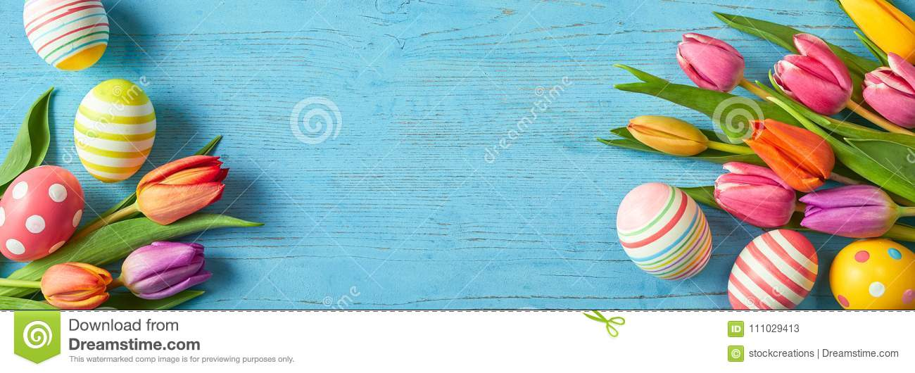 Fresh tulips and Easter eggs in a colorful banner