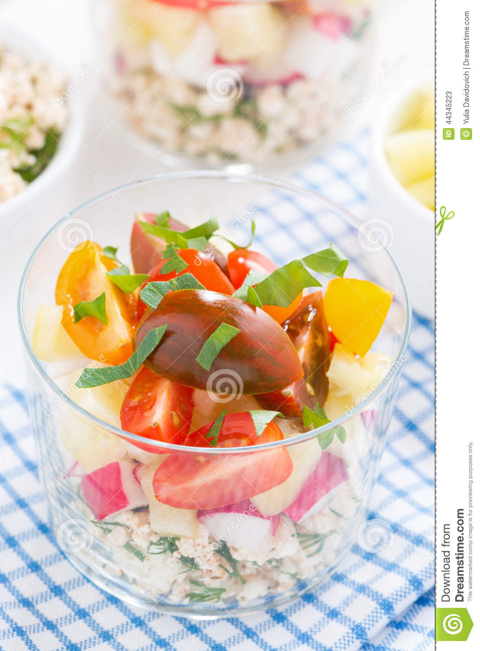 Fresh Vegetable Salad With Cottage Cheese In A Glass Top
