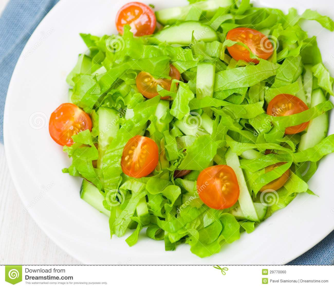 Fresh Vegetable Salad With Lettuce, Tomato And Cucumber Stock Photo ...
