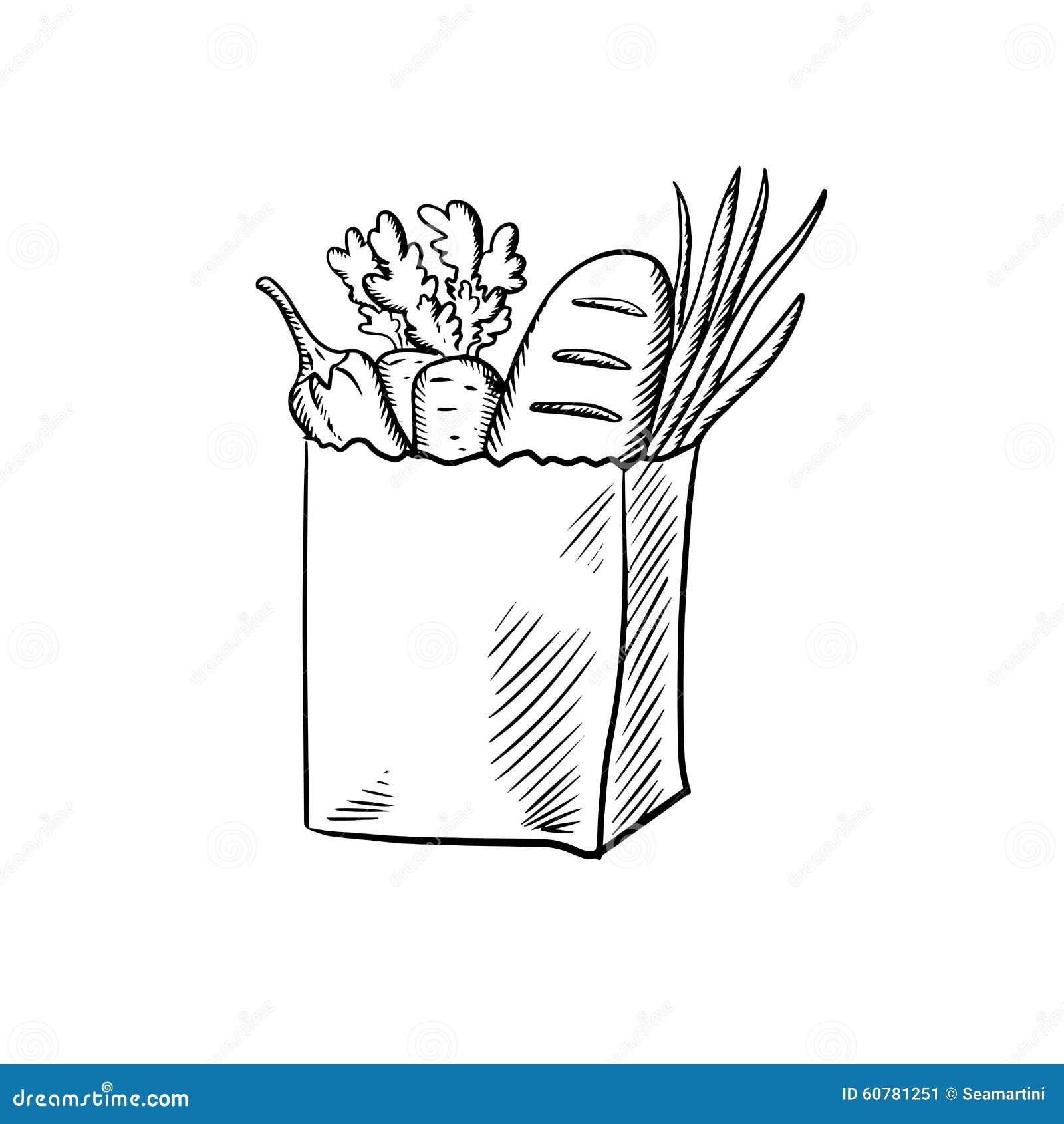Paper bag sketch - Fresh Vegetables And Bread In Paper Bag