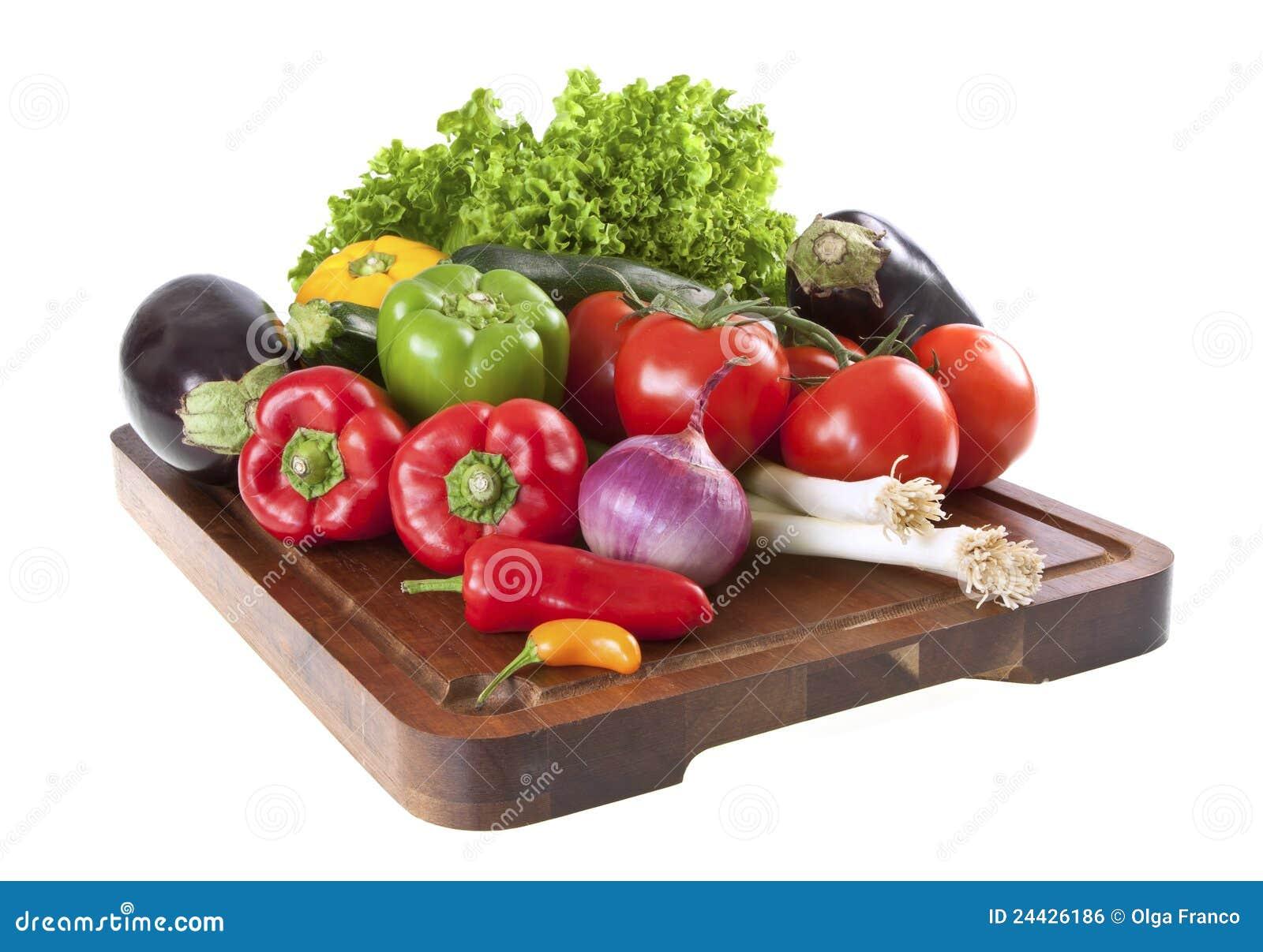 Fresh vegetables on chopping board