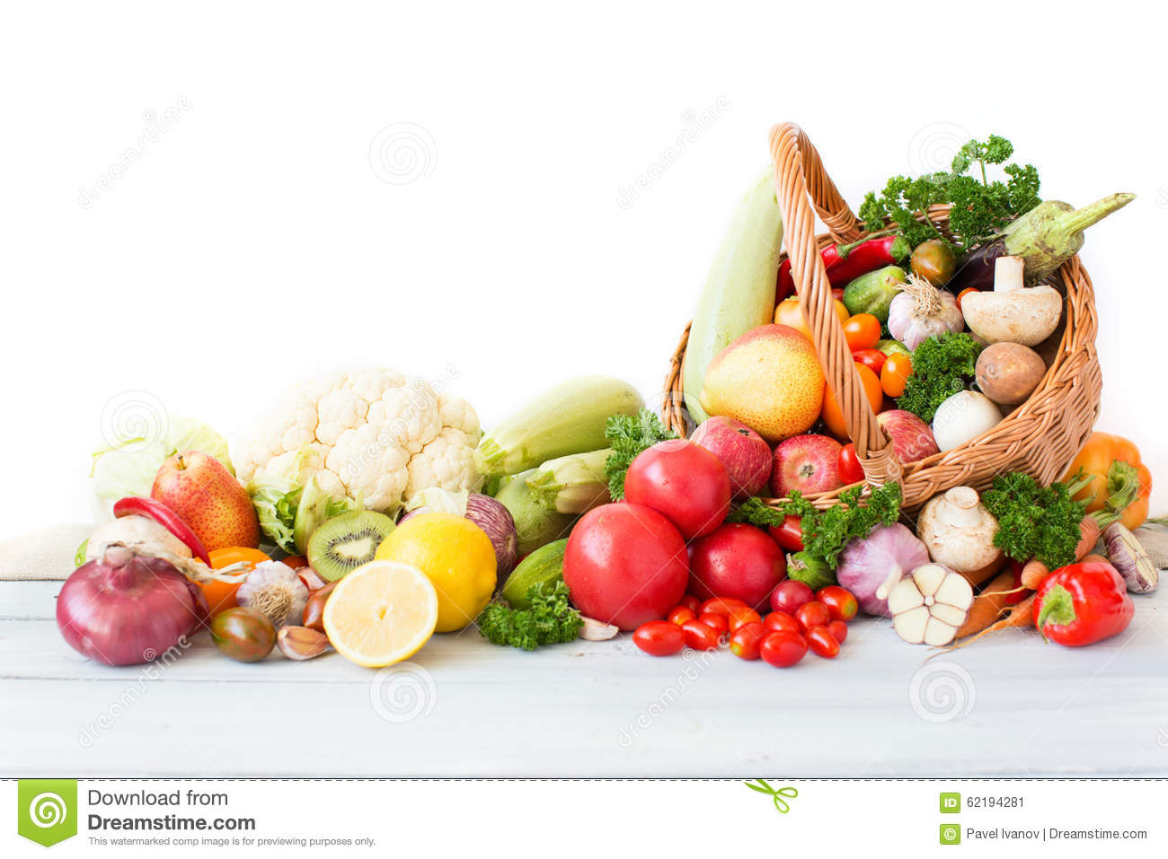 Fresh Vegetables And Fruit In Basket. Stock Image - Image ...