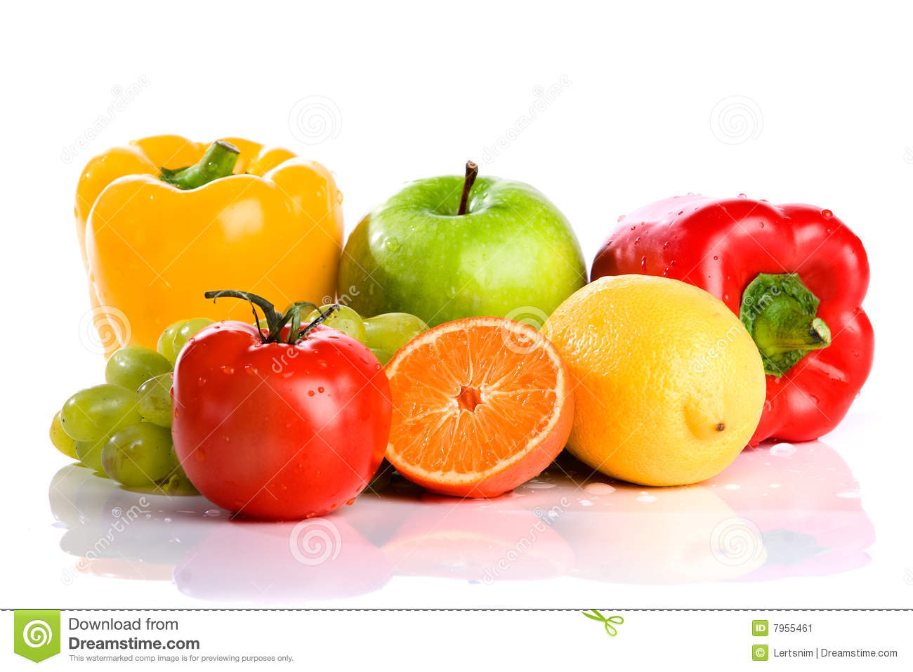 Fresh vegetables and fruit isolated