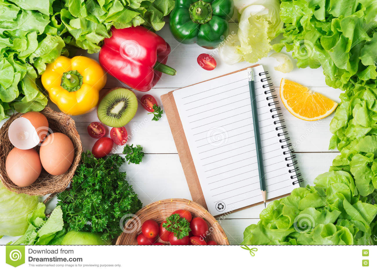 Fresh Vegetables And Fruit On Wood Background, Healthy ...