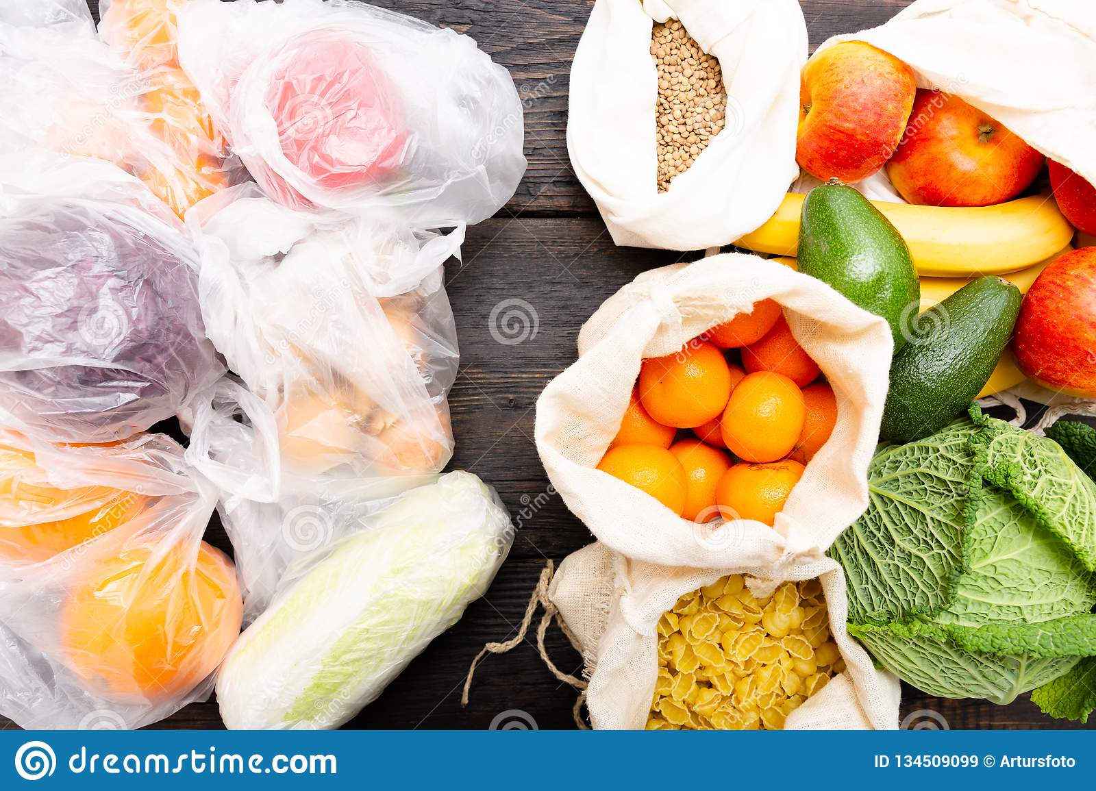 Fresh vegetables and fruits in eco cotton bags against vegetables in plastic bags. Zero waste concept - Use plastic bags or multi-