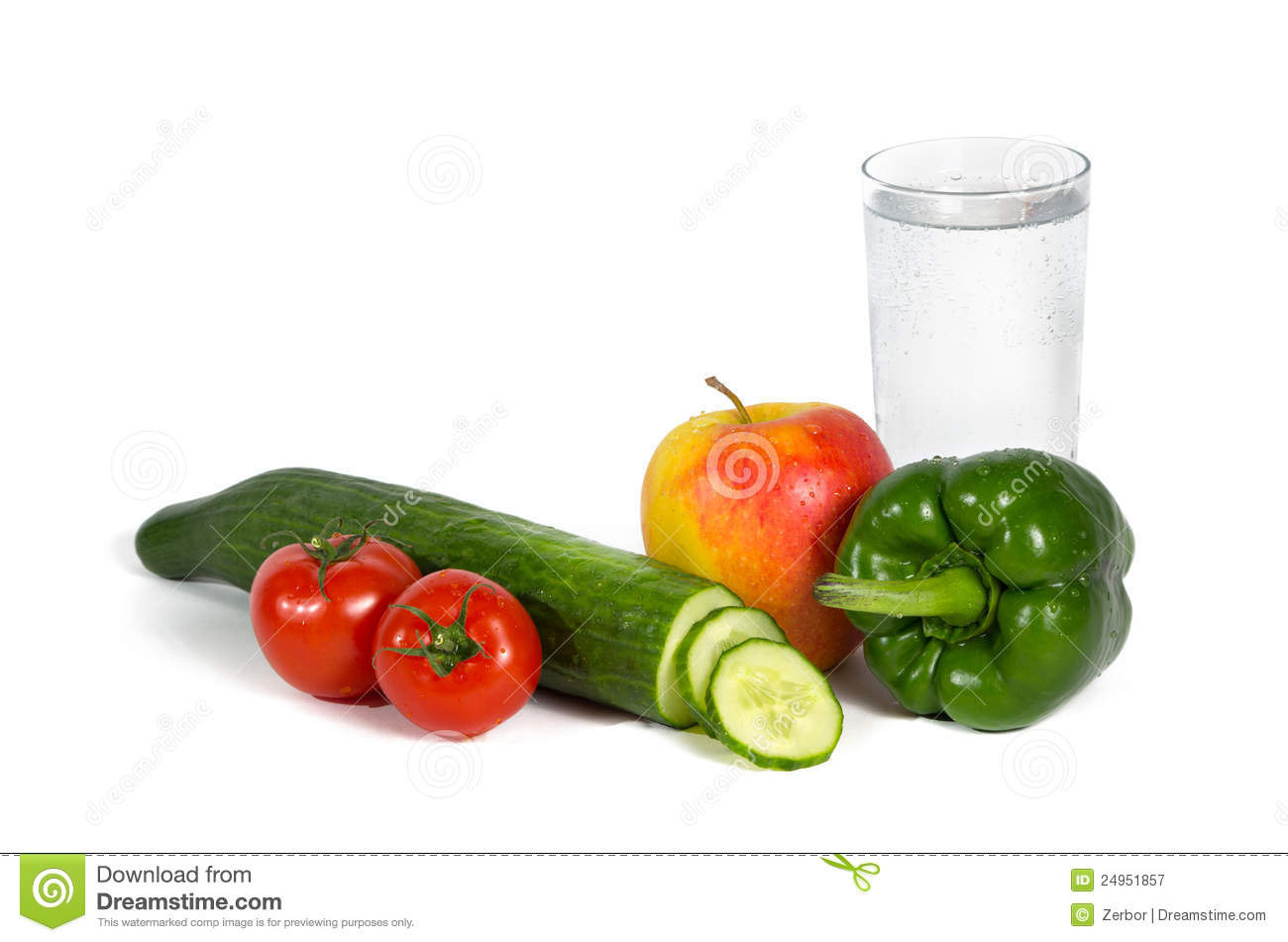 Fresh Vegetables And Fruits With A Glass Of Water Royalty