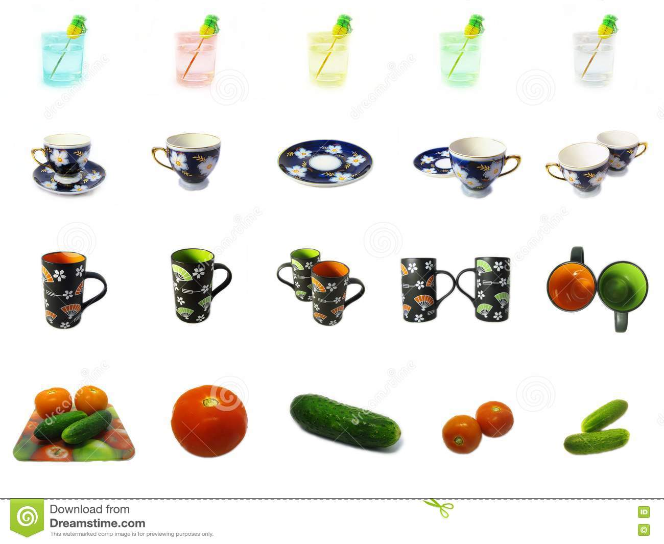 Stock Images Fresh Vegetables Glasses And Cups Icons