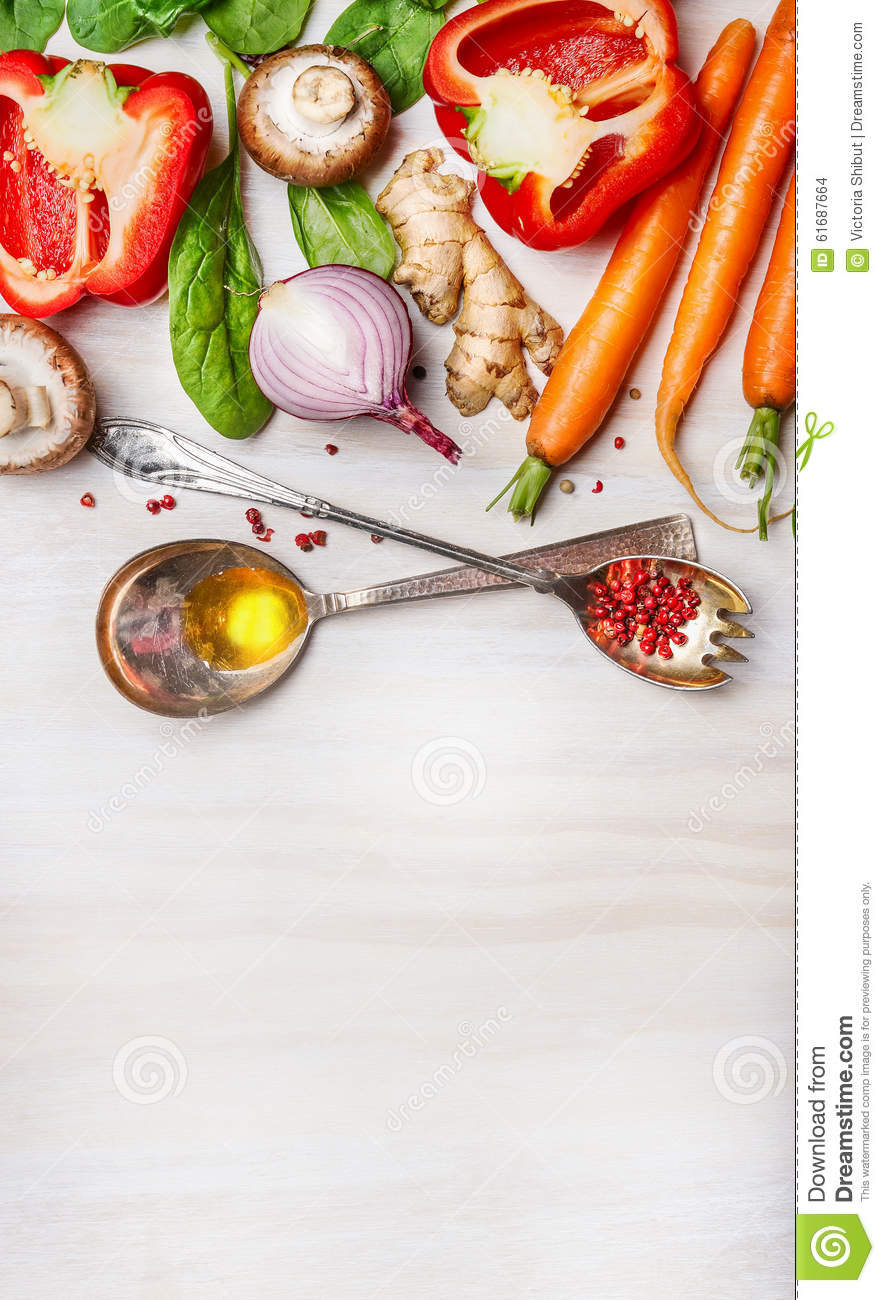 Wallpaper Food Cooking Grill Vegetables Peppers: Fresh Vegetables For Healthy Cooking With Spoons,oil And