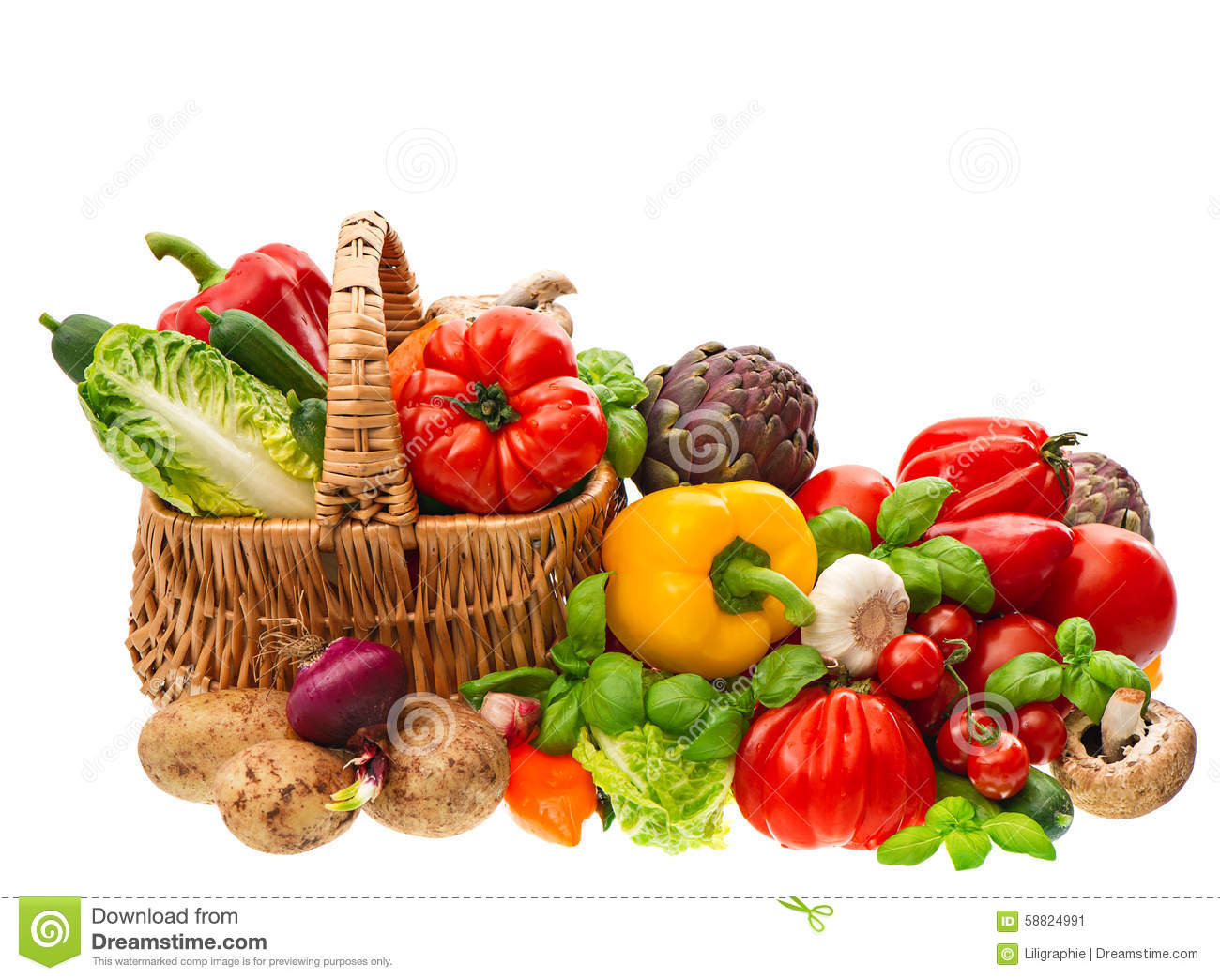 Fresh vegetables and herbs. Shopping basket. Healthy nutrition