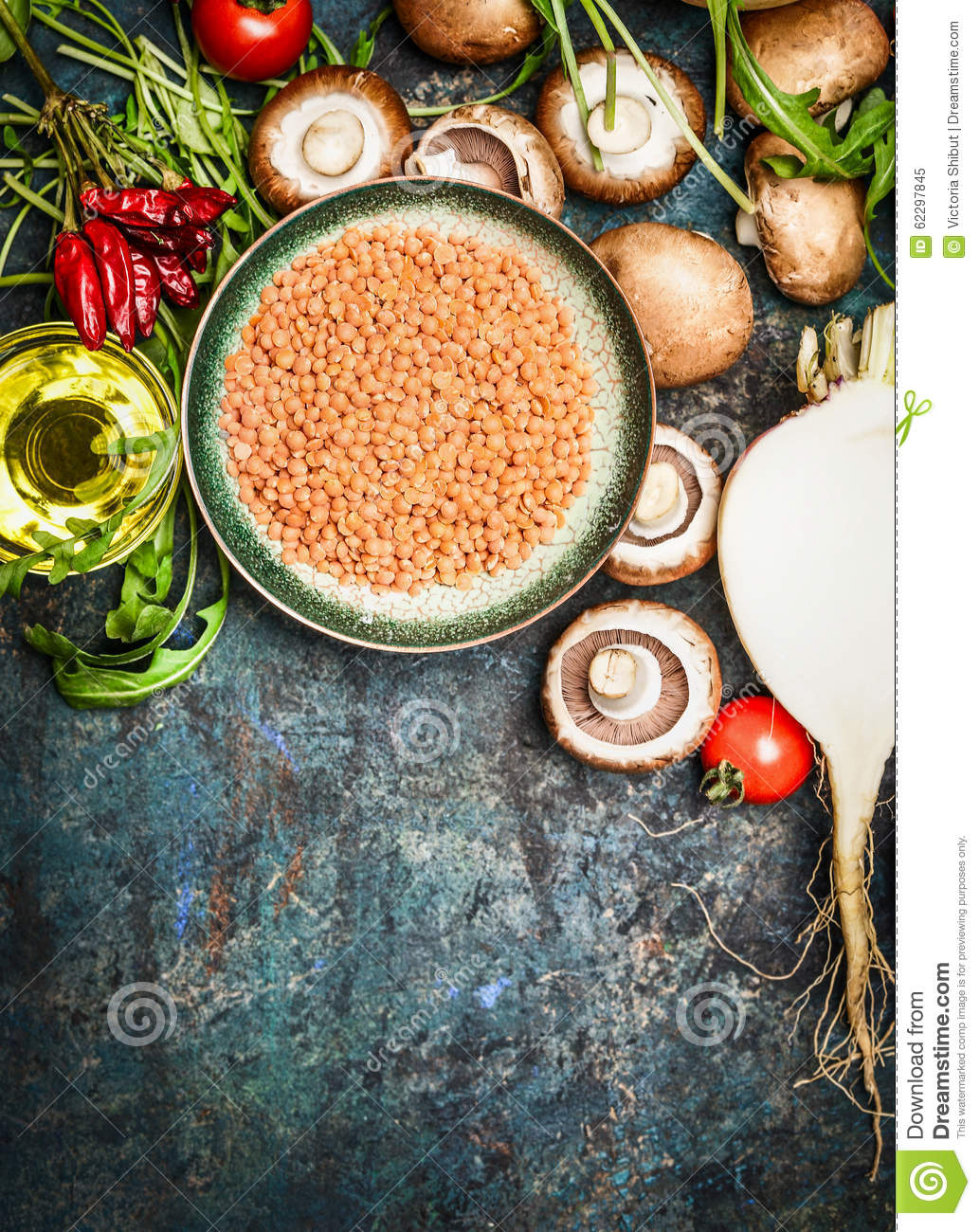 Fresh Vegetables And Ingredients With Red Lentil For