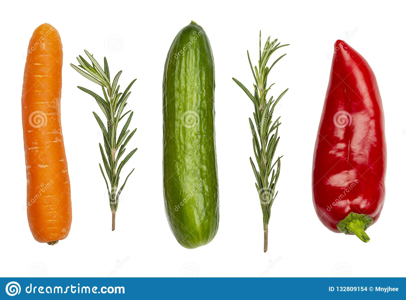 Fresh vegetables isolated on white. Carrot, cucumber, pepper and