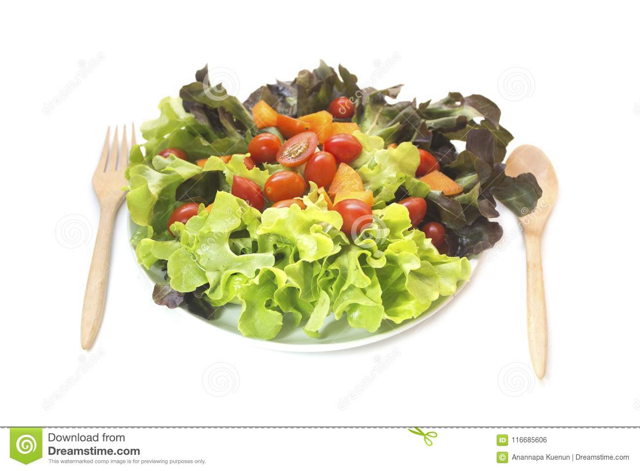 Fresh Vegetables Mixed Salad Isolated Stock Photo Image Of