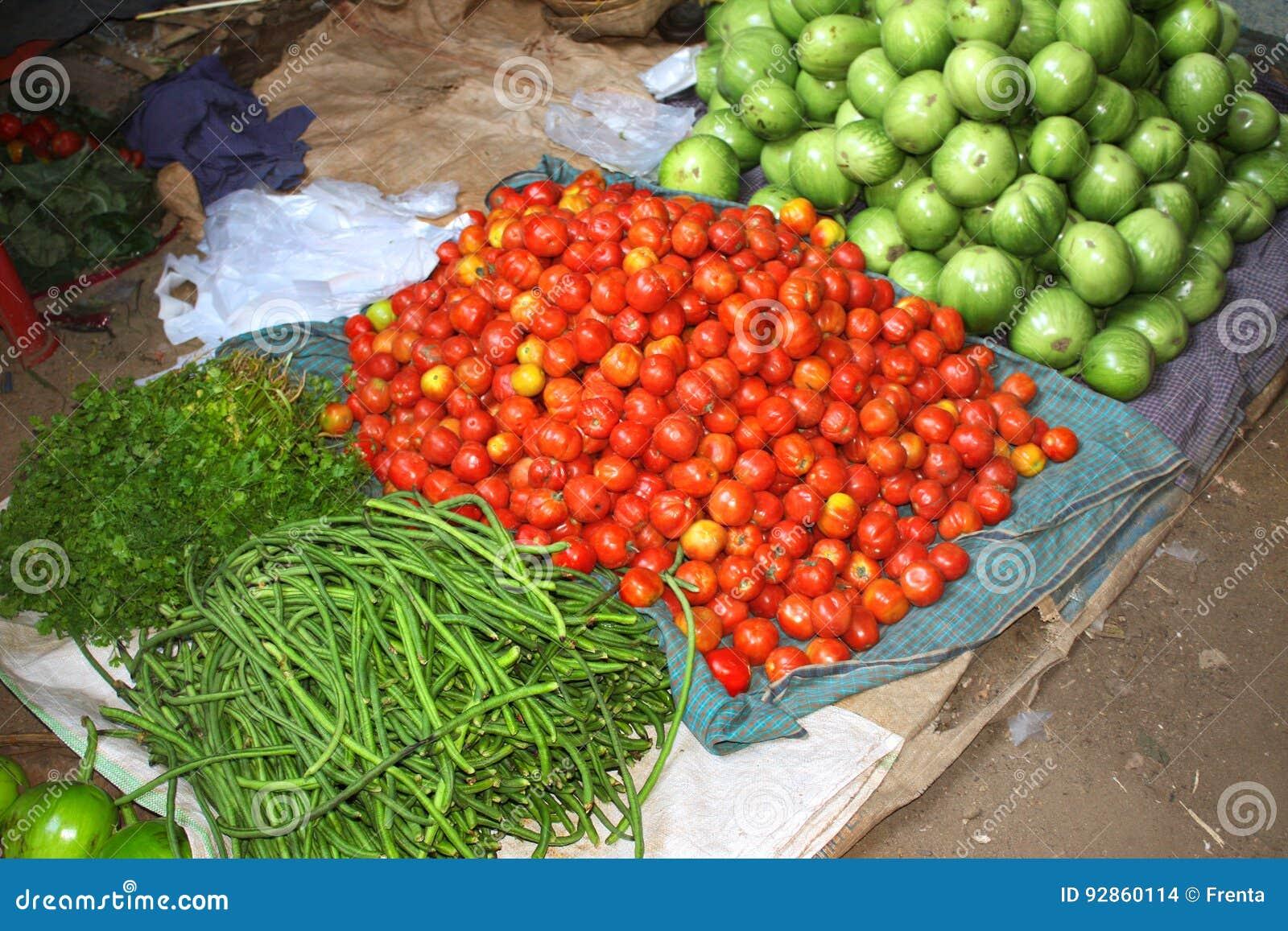 Fresh Vegetables On Morning Market, Myanmar Burma Stock