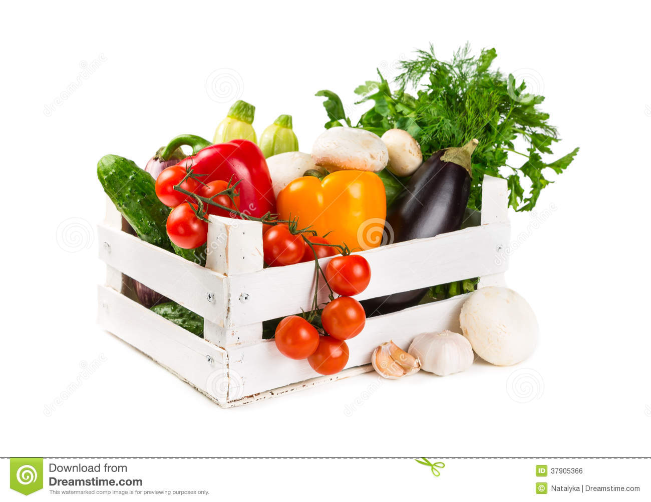 Fresh Vegetables In A Painted Wooden Box Stock Photo ...