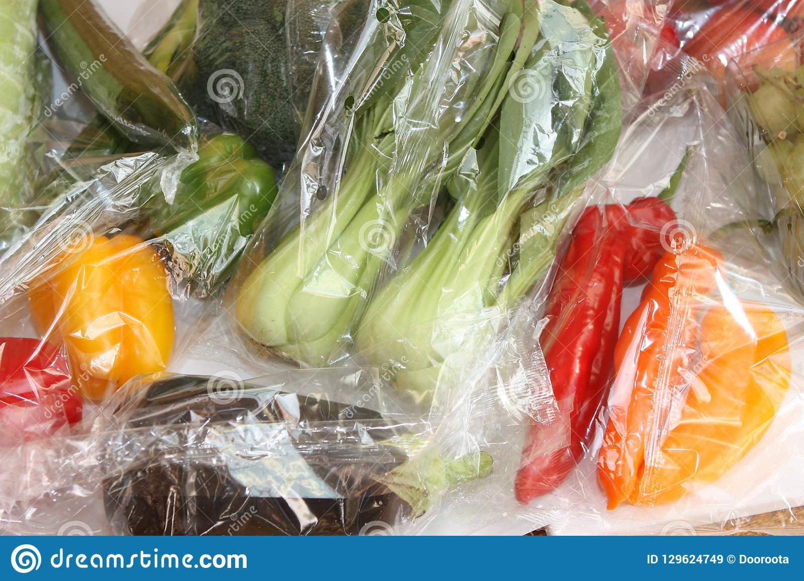 Fresh Raw Food In Plastic Bags  Stock Image - Image of nature