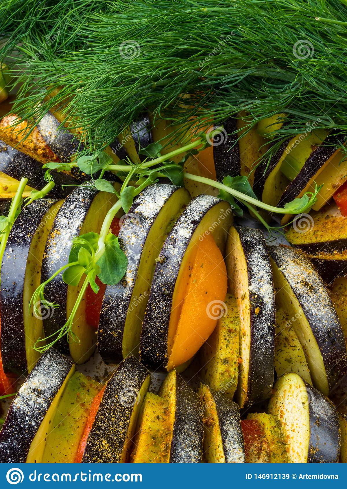 fresh vegetables Ratatouille - traditional French Provencal vegetable dish cooked in oven. Diet vegetarian vegan food