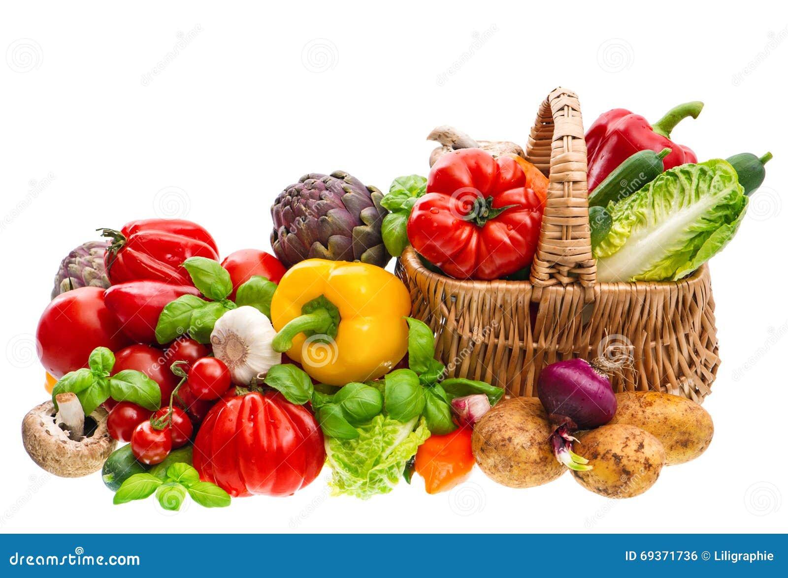 Fresh vegetables. Shopping basket. Healthy food