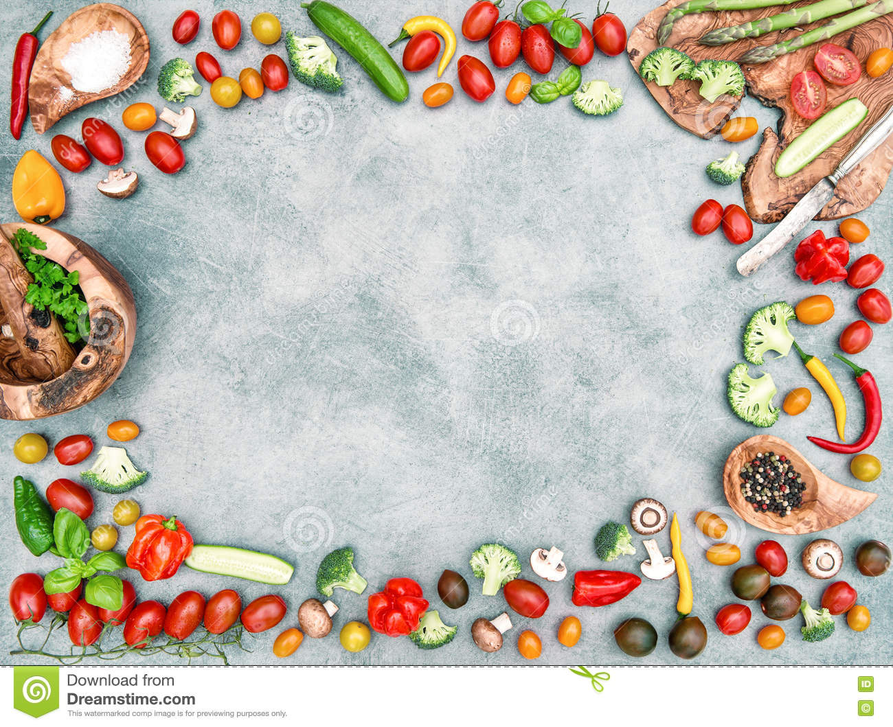 fresh vegetables spices food objects frame vintage stock photo