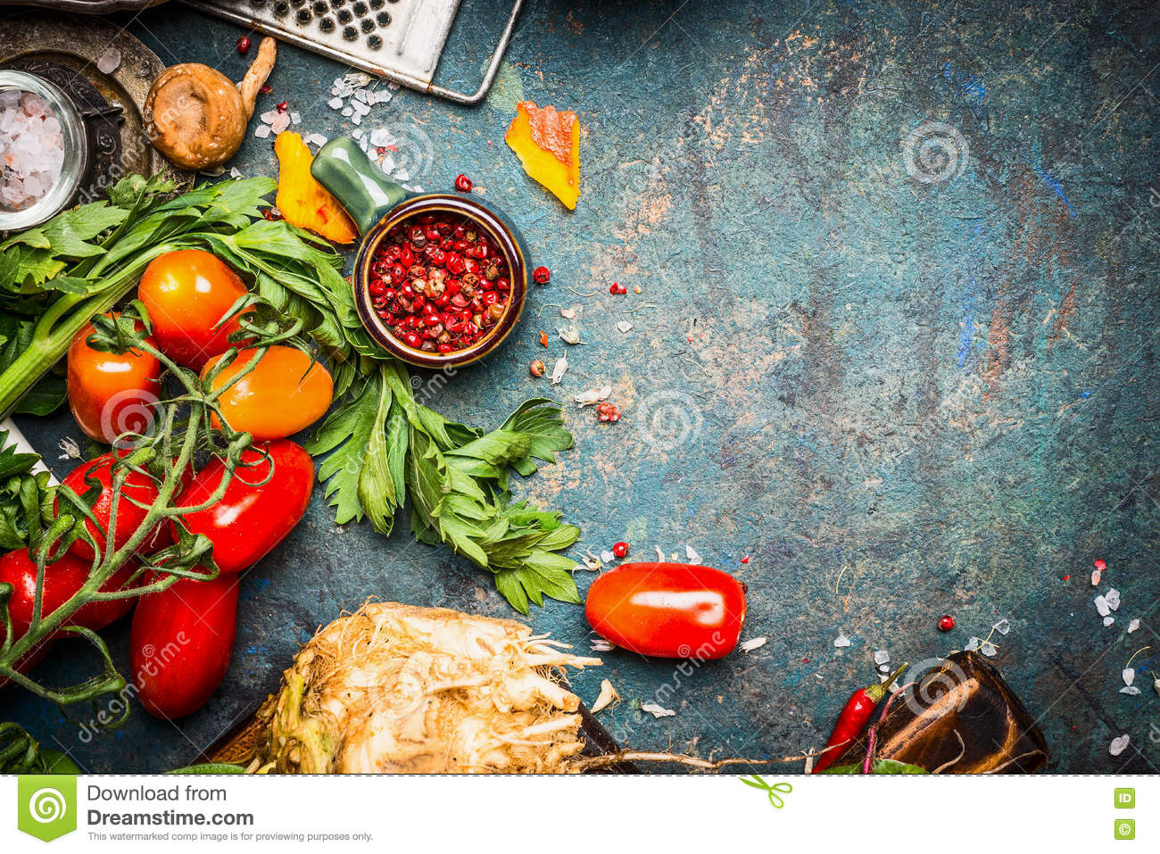 Fresh Vegetables And Spices Ingredients For Tasty Vegetarian Cooking ...