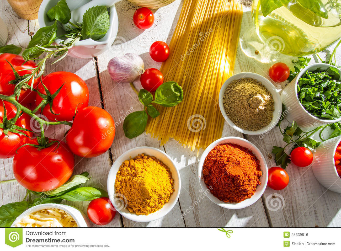 Fresh Vegetables And Spices In Italian Cuisine Royalty Free Stock ...